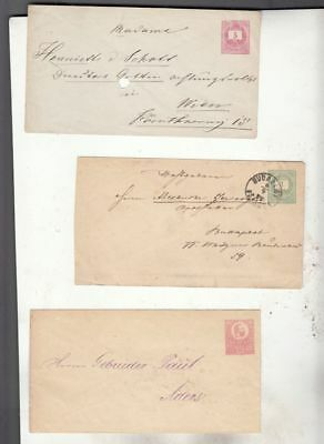 oldhal-Hungary-Lot of three Stamped Envelopes from the 1870s