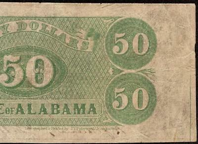 1864 $50 Dollar State Of Alabama Note Large Obsolete Currency Old Paper Money