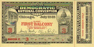 1940 Democratic National Convention Balcony Ticket - 3rd Session