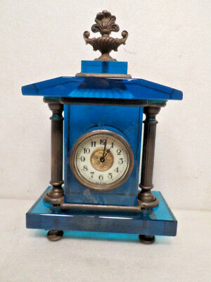 Beautiful Mechanical Wind Blue Glass/Brass Designed Table Clock--Porcelain Dial
