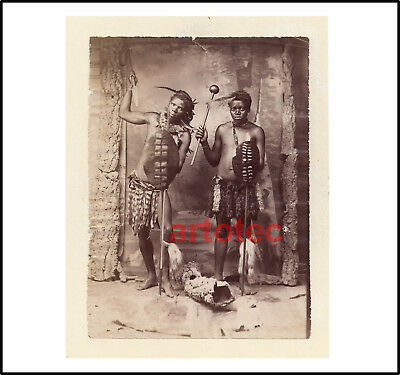 Antique photo African Zulu warriors spear asegai knobkerrie 19th REAL LOOK
