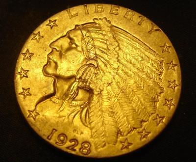 1928 $2 1/2 Indian Head Gold Coin Quarter Eagle BU MS!