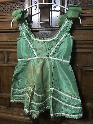 Estate Victorian * Edwardian Girls Green Silk Frilly Big Bow Fancy Top Costume