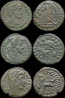 ROMAN IMPERIAL. Lot of 3 Late empire bronzes, list in description