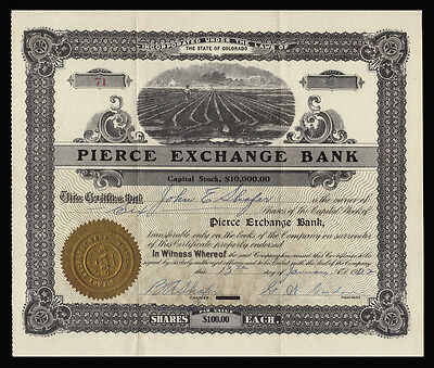 1922 Pierce Exchange Bank Stock Certificate WELD COUNTY COLORADO Scarce