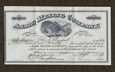 1890 DEADWOOD DAKOTA Albe Mining Co. Stock Certificate - Albe Holmes Signature