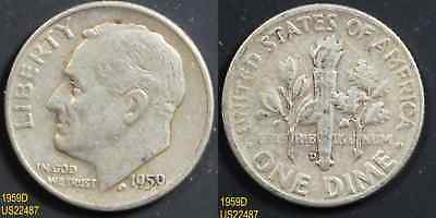 1959-D ROOSEVELT circulated silver dime