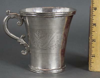 19thC Antique Spanish Colonial Hand Wrought & Engraved Silver Cup, NR