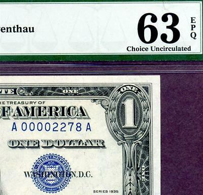 HGR FRIDAY 1935 $1 Silver Certificate ((Rare LOW#2278)) PMG CHOICE UNC 63EPQ