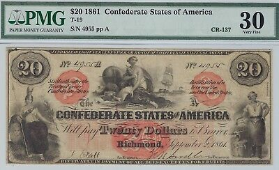 T-19 PF-1 $20 1861 Confederate Paper Money - Rare type! - PMG Very Fine 30!