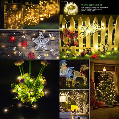 Fairy String Lights Battery Operated, 200 Micro LED 66ft /20M Waterproof 8 Mode