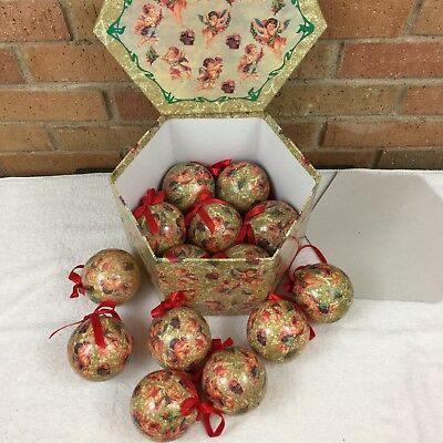 "VTG Set of Paper Mache Christmas Ornaments Angels Cherubs 3"" Balls in Box"