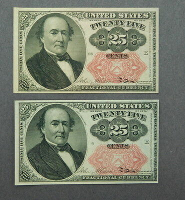 1874 U.s. Fractional Currency 25 Cents 2 Pieces Vg