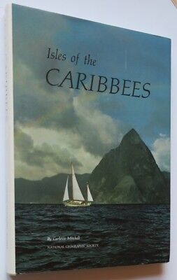 1966 Isles of the Caribees,Nat. Geographic Caribbean color photo book & larg MAP