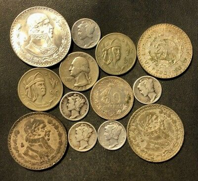 Vintage USA/MEXICO Silver Coin Lot - 1929-1966 - 13 Silver Coins - Lot #N17