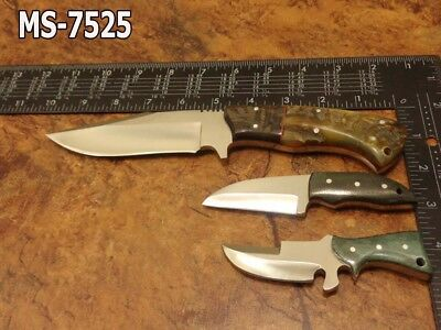 Lot Of 3 Custom  N-690 Cobalt Steel Spear Point And D2 Steel Neck Knives Ms-7525