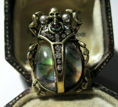 Beautiful Statement Ring Art Deco Vintage Style Crystal Beetle Size N 1/2 7