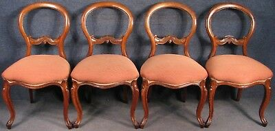 Set Of 4 Victorian Solid Mahogany Framed Cabriole Leg Dining Chairs