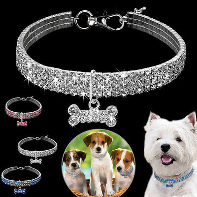 Small Pet Dog Bling Shiny Rhinestone Dog Collar Puppy Necklace Pendent with Bone