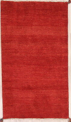 """Thick Pile Solid Red Runner 3x6 Gabbeh Shiiraz Persian Oriental Rug 5' 6""""x3' 1"""""""