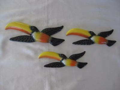 Set Of 3 Beautiful Ceramic Flying Wall Toucans