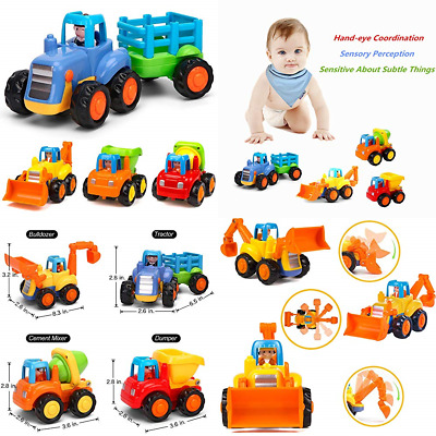Push & Go Friction Powered Cars Construction Vehicles Toy Set Tractor Bulldozer