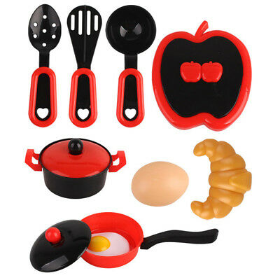 1 Set Mini Kitchen Cooking Food Utensils Pans Dishes Cookware Kids Play Toy