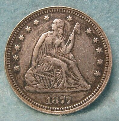 1877-CC Carson City Mint SEATED LIBERTY SILVER QUARTER SOLID XF Details US Coin