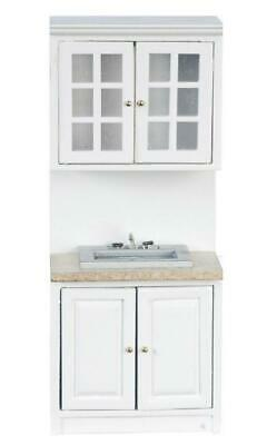 Dolls House White Fitted Kitchen A Sink Unit Marble Effect Top
