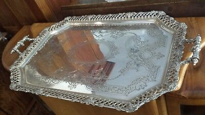 5315g MAPIN & WEBB 1916 MASTERPIECE STERLING SILVER SCULPTURE HANDLE EMBOSS TRAY