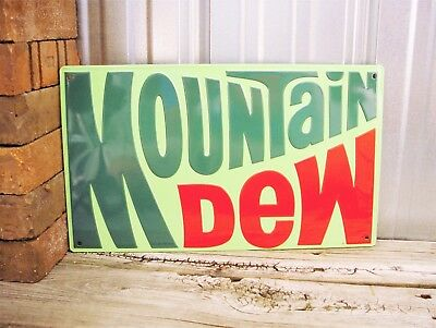 "Mountain Dew Embossed Logo 17"" Can Embossed Metal Tin Sign Pop Cola New Garage"