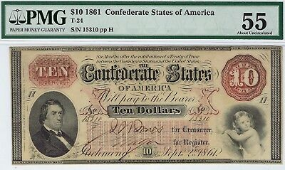 T-24 PF-1 $10 1861 Confederate Paper Money - PMG About Uncirculated 55!