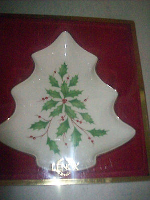 Lenox Holiday Christmas Tree Candy Dish New In Box 24K Gold trim    2b