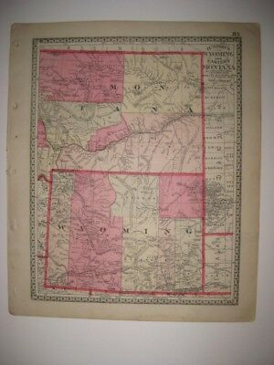 Antique 1885 Wyoming Montana Idaho Handcolored Map Superb Railroad Detailed Nr