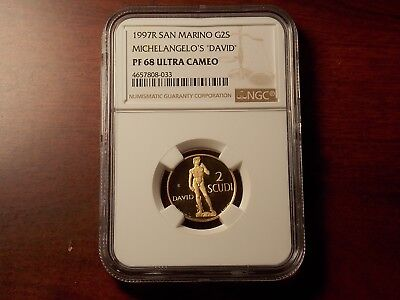 1997 San Marino 2 Scudi Proof GOLD coin NGC PF-68 UC