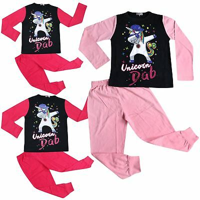 Kids Girls Pyjamas Designer Unicorn Dab Floss Lounge Wear Nightwear PJS 5-13 Yr