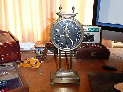 Antique Fancy English Brass Gravity Clock Rare No Key Needed Sold as-is