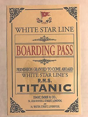 Titanic Boarding Pass - Replica - Near Mint Condition. FREE SHIPPING