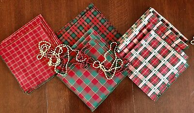 Lot of 13 Vintage Christmas Asst. PLAID Cotton Napkins Dinner Luncheon