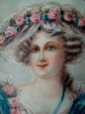 Young period georgian lady miniature painting in brass ribbon frame, signed.