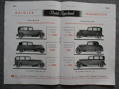 Daimler Lanchester+Bsa 1933 Coloured 4-Page Literature
