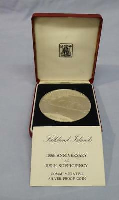 Large Silver Proof £25 Coin Falkand Islands 100Th Anniv Self Sufficienncy 1985