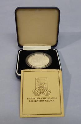 1982 Falkland Islands Liberation Silver Proof 50 Pence Crown Orig Box And Cert