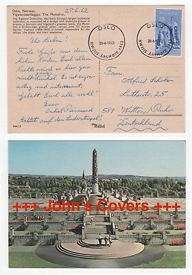 1962 NORWAY Cover OSLO to WITTEN GERMANY Monolith Monument Postcard RP