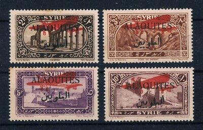 ALAOUITES 1926 airpost MH SET SC#C9-C12 Michel 43-46 Black OVP Red Plane Syria