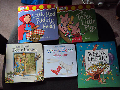 5 Baby Board Book Bundle Peter Rabbit Jungle Three Little Pigs Red Riding Hood