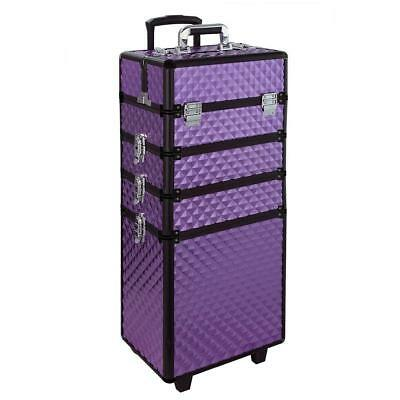 Rolling Makeup Case, Qivange 4 in 1 Aluminum Professional Makeup Trolley Case fo