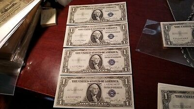 Lot Of 4 Consecutive $1 1935 D Silver Certificates Choice Uncirculated Nice !!