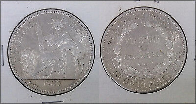 1907 A French Indo-China Piastre large Silver coin Nice details