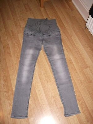 Ladies H & M Grey  Skinny Over Bump  Stretch Maternity Jeans Size 12 31 Leg